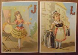 2 Chromos Image Bon Point Chromo. Vers 1880-1890. Fillette Abécédaire Lettres J & L. Verso Vierge - Chromos