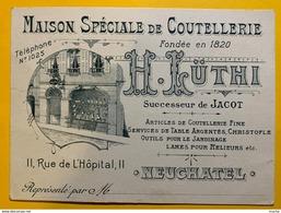 60311 - Maison Spéciale De Coutellerie H.Lüthi Neuchâtel Suiisse Verso Quittance De Livraison - Visiting Cards