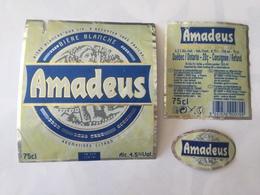 Ancienne étiquette B8 BIERE BELGE - AMADEUS - BIERE BLANCHE - Bière