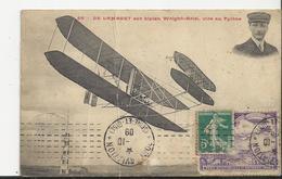 """Timbre Port Aviation """" Au 17 Octobre1909 Cachet Seine Et Oise Sur Carte De Lambert Sur Biplan Wright Ariel Vire Au Pilon - Airmail"""