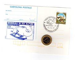 P0512  CARTOLINA POSTALE ANNULLO FILATELICO MONDIALI SCI ALPINO SESTRIERE 2-2-97 CASTELLI L750. - 6. 1946-.. Repubblica