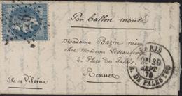 Lettre Par Ballon Monté Guerre 1870 Napoléon Lauré Oblitération étoile 16 CAD Paris R Palestro 30 Sept 70 Rationnement - Marcophilie (Lettres)