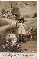 ENFANTS 973 : Joyeuses Pâques ; Fillette Et Ses Moutons ( Belle Photo ) - Enfants