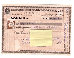 P0513 VAGLIA POSTALE CASTELLI IN BOBINA 100. - 1946-.. République