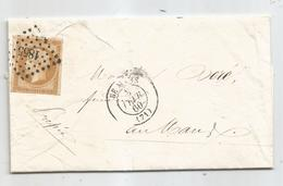 -SARTHE - LE MANS PC.1855 S/TPND Napoleon III N°13 + Càd Type 15 - 1860 - 1853-1860 Napoleon III