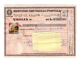 P0514 VAGLIA POSTALE CASTELLI 100. - 1946-.. République