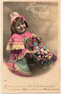 ENFANTS 975 : Heureuses Pâques Fillette Avec Un Panier D'œufs - Enfants