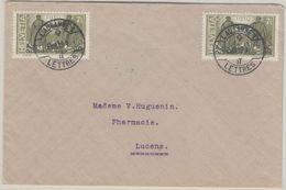 Schweiz - 2x7 1/2 Rp. Friedensvertrag Fernbrief Lausanne - Lucens 1919 - Suisse