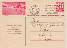 Schweiz - 20 Rp. Bildganzsache Arosa Skitourengeher - Zürich - Frauenau 1937 - Ganzsachen