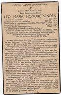 Doodsprentje Oorlog Guerre War WOII Priester Leo SENDEN  + 17-12-1944 Arbeids-tuchtkamp Elrich - Andachtsbilder