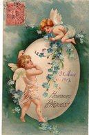 ENFANTS 979 : Gaufré : Anges Heureuses Pâques 1907 - Enfants