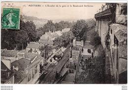 POITIERS L'ESCALIER DE LA GARE ET LE BOULEVARD SOLFERINO 1909 TBE - Poitiers