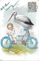 CPA Fantaisie Jeune Garçon Bébé Cigogne Et Myosotis 1905 - Birds