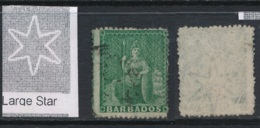 BARBADOS, 1870 Halfpenny Wmk Large Star (rough P 14-16) Used, SG43, Cat GBP10 - Barbados (...-1966)