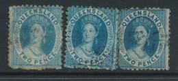 QUEENSLAND, 1862 2d P12 (pale, Bright, Deep Blue), SG98,99,100, Cat GBP18 - 1860-1909 Queensland