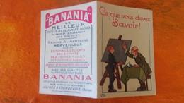 PEU COMMUNE ! BANANIA PUBLICITE DEPLIANT EN DEUX VOLETS ILLUSTRATEUR CE QUE VOUS DEVEZ SAVOIR  CHROMOS CHOCOLAT - Autres