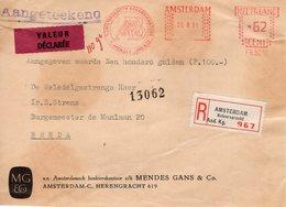 25 8 61  Roodfrankering Amsterdam Op Aangetekend Front  Met Firmalogo Naar Breda Met Strookje VALEUR DËCLARËE - Postal History