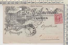 STORIA POSTALE PUBBLICITARIA 1919 VERONA G.B. ANDRIOLI FILATI MERCERIE  PER LAGOSTINA OMEGLIA - Marcophilia