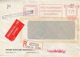 20 XI 64   Roodfrankering Amsterdam Op Aangetekende Expres-envelop Met Firmalogo Naar Berlin - Postal History