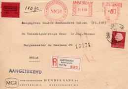 21 9 65   Roodfrankering  Amsterdam Op Aangetekend Front  Met Firmalogo Met WAARDE-strookje Naar Breda + Bijfrankering - Postal History
