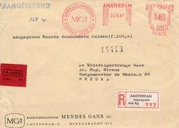 25 5  67   Roodfrankering  Amsterdam  Op Aangetekend Front  Met Firmalogo En Waardestrookje Naar Breda - Postal History