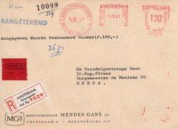 15 II  67   Roodfrankering  Amsterdam Op Aangetekend Front  Met Waardestrookje Naar Breda - Postal History