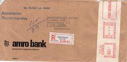 16 X 75 Roodfrankering  Amsterdam Op Aangetekende Envelop Met Firmalogo Per Luchtpost Naar Aachen - Postal History