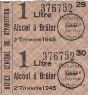 2 TICKETS DE RATIONNEMENT ALCOOL A BRÛLER - 1945. - Documents Historiques
