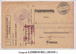 Enveloppe De Franchise Prisonniers De Guerre De Limburg Lahn PourNeuville Sur Sarthe 1916 - Poststempel (Briefe)
