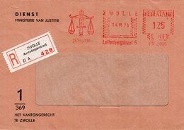 14 VI 78  Roodfrankering  Zwolle  Op Aangetekende Vensterenvelop Met Firmalogo Kantongerecht Zwolle - Poststempel