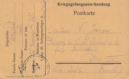 Carte Franchise Militaire Prisonniers De Guerre Accusé Réception Colis  En Anglais De Munster III Vers Nantes 1918 - Guerre De 1914-18