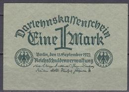 Darlehnskassenschein 1 Mark - 1922 - Gebraucht - [ 3] 1918-1933 : República De Weimar