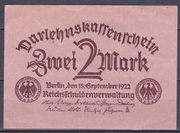Darlehnskassenschein 2 Mark - 1922 - Gebraucht - [ 3] 1918-1933 : República De Weimar