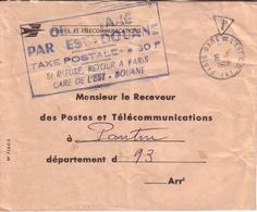 """LETTRE AVEC GRIFFE """" OBJET TAXE PAR EST DOUANE SI REFUSE RETOUR GARE DE L' EST """" - 1968 - 1961-...."""