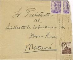 36343. Carta BARCELONA 1941. Sello Recargo Exposicion, Circulada A DOS RIUS, Por Mataró - Barcelona