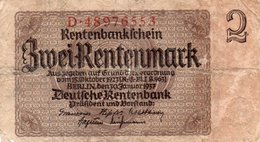 GERMANY-  2 RENTENMARK 1937  P-174b.2   CIRC. - Otros