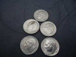 One Dime Lots 5 Pieces 1981D 1982P 1983D 1988D 1989P - Etats-Unis