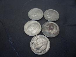 One Dime Lots 5 Pieces 1980D 1984P 1986D 1986P 1988P - Etats-Unis