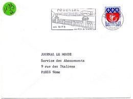 GIRONDE - Dépt N° 33 = PODENSAC 1967 = FLAMME Codée  = SECAP Illustrée ' SITE / Vins De Graves ' - Postmark Collection (Covers)
