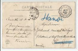 Marcophilie Cpa Cachet Layaye Du Puits A Cherbourg Pour Hanoi Via Haiphong 7e Batterie 4 Rgt D'artillerie Coloniale 1906 - Indochina (1889-1945)