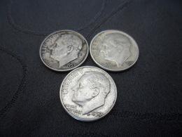 One Dime Lots 3 Pieces 1953 1956 1959 - Etats-Unis
