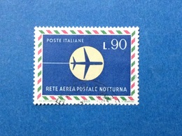 1965 ITALIA RETE AEREA POSTALE NOTTURNA 90 LIRE FRANCOBOLLO USATO ITALY STAMP USED - 6. 1946-.. Repubblica