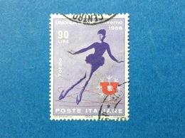 1966 ITALIA UNIVERSIADI SPORT UNIVERSIADE INVERNO 90 LIRE FRANCOBOLLO USATO ITALY STAMP USED - 6. 1946-.. Repubblica