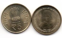 India - 5 Rupees 2014 UNC Jawaharlal Lemberg-Zp - India
