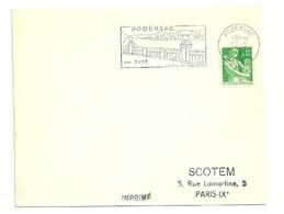 GIRONDE - Dépt N° 33 = PODENSAC 1962 = FLAMME Non Codée = SECAP Illustrée ' SITE / Vins De Graves ' - Postmark Collection (Covers)