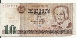 ALLEMAGNE 10 MARK 1971 VG P 28 - [ 6] 1949-1990 : GDR - German Dem. Rep.