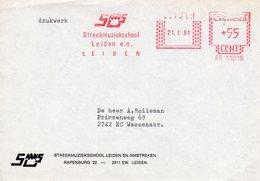 21 I 81  Roodfrankering Leiden Op Envelop Met Firmalogo Naar Wassenaar - Postal History