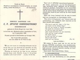 Bidprent - Minderbroeder Vanderhoydonks (Grote Brogel 1905) Minderbroeder Te Tielt - Priester Gewijd Sint-Truiden - Devotion Images