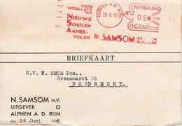 26 6 36  Roodfrankering KOMUSINA Alphen A.d. Rijn Op Briefkaart Met Firmalogo Naar Dordrecht - Postal History