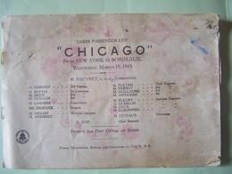 """PAQUEBOT """"CHICAGO"""". LIGNE NEW-YORK/BORDEAUX. LISTE DES PASSAGERS. 19 MARS 1919.  100_9365. - Paquebots"""